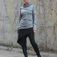 Gray Asymmetric Blouse, Extravagant Long Sleeved Top, Top Tunic, Casual Polo Top, Patchwork Top by CARAMELfs T14317