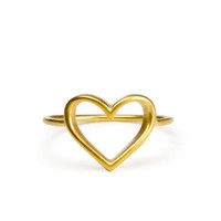 open heart ring, gold dipped - size 7 - Dogeared
