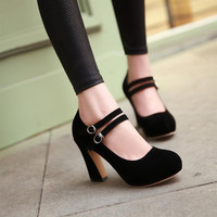 New 2015 Mary Jane Women Pumps Fashion Flock Round Toe Ankle Strap High Heels Women Shoes Elegant Ladies Office Shoes Size 34-43