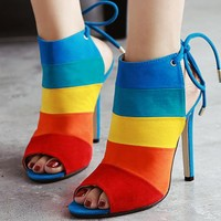 Fashion ladies'boots, open toes, color stripes, sexy slim and super high heels