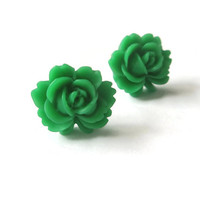 Earrings Stud Post Bright Green Emerald colour Resin Roses Flower jewellery Everyday Wear Pretty jewelry
