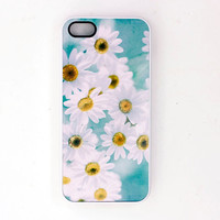 White Daisy Floral Phone Case , IPhone 5 Case, 4, 4s Case, Flower Case, Women's Accessory, Original Photograph, Made to Order, Turquoise
