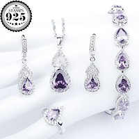 2018 New Purple Zircon Silver 925 Costume Jewelry Sets Bracelets Necklace&Pendant Rings Drop Earrings With Stones Set Gift Box