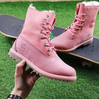 Timberland Authentics Waterproof Fold Down Shearling Pink Mid Boots Outdoor Sneaker