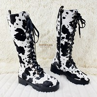 Savage Goth Punk Rock Faux Cow Fur Lace Up Platform Combat Knee Boots