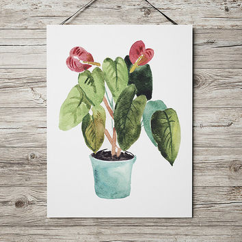 Potted plant poster Botanical print Flower print Watercolor decor ACW646
