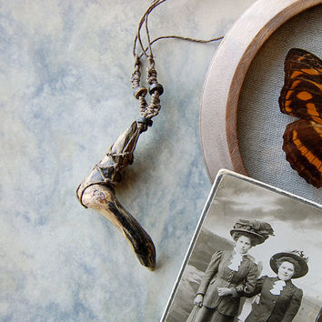 witchy driftwood necklace - hemp necklace wood pendant - pine wood salvaged necklace -primitive woodland nature magic  - witch necklace