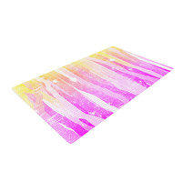 """Frederic Levy-Hadida """"Jungle Stripes Pink"""" Yellow Painting Woven Area Rug"""