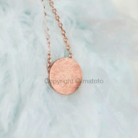Rose Gold Disc Necklace, Pink Gold Circle Textured Disc Necklace, Minimalist