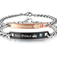 His or Hers Matching Set His Princess Her Prince Titanium Stainless Steel Couple Bracelet in a Gift Box