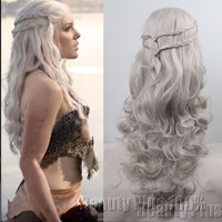 cosplay wig New Arrival Game of Thrones Daenerys Inspired Hair Cosplay Hair wigs blonde ,Silver for you choose free shipping