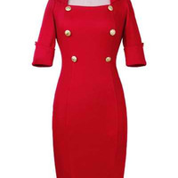 Red Half Sleeve Maxi Bodycon Dress with Buttons