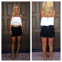 Riley Flounce Crop Top - WHITE