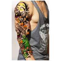 3pcs Waterproof Temporary Tattoos Sleeve Body Art Men Women Colorful Fake Tattoo Stretchy Arm Stockings Sex Products