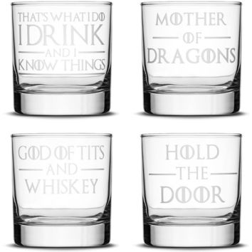 Premium Whiskey Glass, Game of Thrones Quote Selection, 10oz
