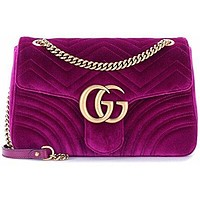 Gucci.Women's GG Marmont Medium Velvet Shoulder Bag