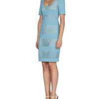 Fendi Lace-Effect Short-Sleeve Sheath Dress, Lagoon