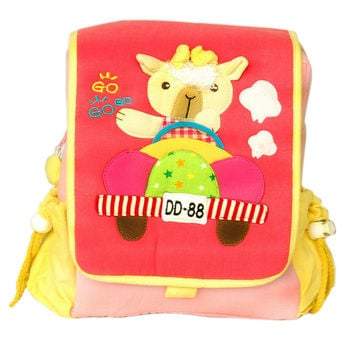Cute Dolly Embroidered Applique Kids Fabric Art School Backpack / Outdoor Backpack in 7.1*8.7*2.6