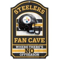 "NFL Pittsburgh Steelers Fan Cave Wood Sign, 11"" x 17"""