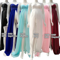 (170cm) Maternity Maxi Dress Twisted Boob Tube On Top Free Size Split Front Chiffon For Photography Props Dress