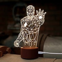 WOMHOPE LED Art Sculpture Lights Up Night Lights Desk Lamp with Base - 3D Visualization - Japanese anime / Movie Characters / Unique Lighting Effects Amazing Optical Illusion Home Decor Lamp for Kids,Valentines Gift,Lovers (Iron Man (A))