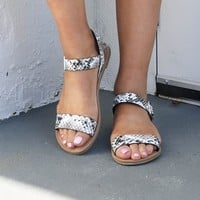 SZ 5.5 Like No Other Black & White Snake Sandal
