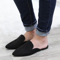 Black Slip On Mule Flat