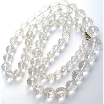 """Clear Crystal Bead Necklace 28"""" 14K Gold Vintage"""