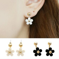 New Design Woman Jewelry Earrings Lovely Daisy Flowers Neckband Fashion Earrings For Women Free Shipping Black White 2 Color