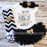 Baby Girl Clothes   I'm My Daddy's Girl And My Mommy's World   Father's Day Set  Opt Headband Leg Warmer   Baby Shower Daddy Gift Take Home