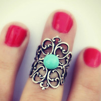 silver knuckle ring in turquoise