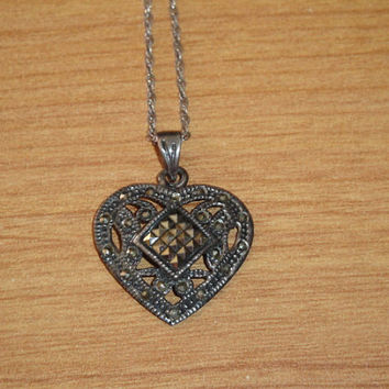 Vintage Heart Shaped Pendant Necklace Round and Square Marcasite Sterling Silver Valentines Day