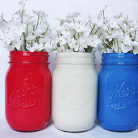 Painted Mason Jar Set: Red, White, and Blue
