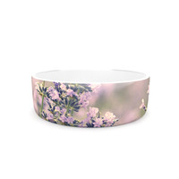 """Robin Dickinson """"Smell the Flowers"""" Lavender Green Pet Bowl"""