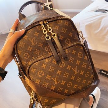 LV Louis Vuitton  Fashion New Monogram Print Backpack Bag Women