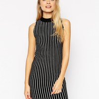 ASOS Turtle Neck Dress In Knit With Vertical Stripe