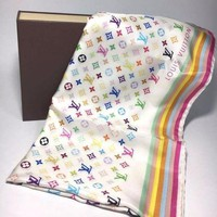 LV Louis Vuitton Hot Letter Women Colorful Print Smooth Silk Scarf Scarves Shawl I