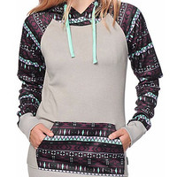 Color Block Print Hooded Pocket Design Pullover Hoodie