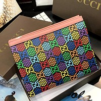 GUCCI 2020 new full printed logo men and women clutch bag