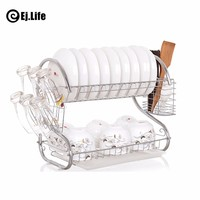 1 Pc S-Shaped Dish Rack 2 Layers Kitchen Dish Shelf Plate Cutlery Cup Rack Drain Bowl Rack Cup Plates holder