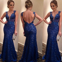 Floral Lace V Neck Backless Gown