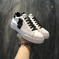 D&G Dolce&Gabbana Men's Leather Fashion Low Top Sneakers Shoes