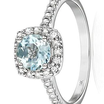 CERTIFIED 1/4 cttw 14k White Gold Aquamarine and Diamond Halo Engagement Ring