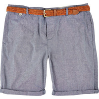 River Island MensBlue plaited belt rolled up shorts