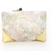 GRACE 4 / Floral tapestry & Natural leather clutch - Ready to Ship