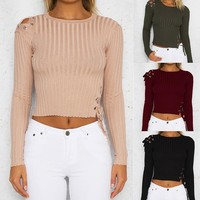 Women'S Solid Color Slim Long-Sleeved Top