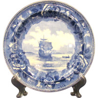 Set of Four Blue and White Wedgwood Commemorative Plates of Colonial America