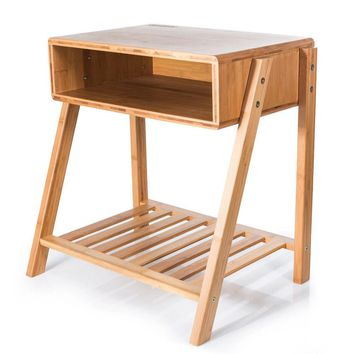 SMAGREHO Bamboo Bedside End Table/Nightstand with Open Storage and Shelf
