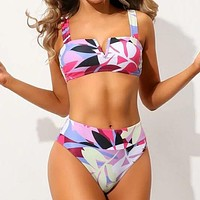 Leaf Print V Wired Bikini Swimsuit