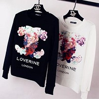 Channel Fashion Flower Logo Print Long Sleeve Top Sweater Pullover F